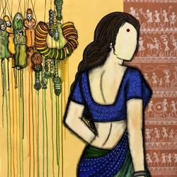 laado, 29 x 33 inch, mrinal  dutt,29x33inch,canvas,paintings,figurative paintings,conceptual paintings,contemporary paintings,paintings for dining room,paintings for living room,paintings for bedroom,paintings for office,paintings for bathroom,paintings for kids room,paintings for hotel,paintings for kitchen,paintings for hospital,acrylic color,GAL01311734257