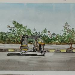 afternoon, 16 x 11 inch, surabhi g,16x11inch,brustro watercolor paper,paintings,cityscape paintings,street art,paintings for living room,watercolor,GAL02240634258