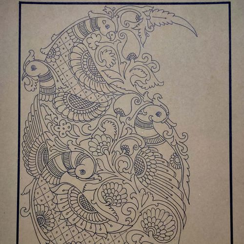 four face peacock with traditional design drawing, 16 x 21 inch, sadhana j,16x21inch,hardboard,paintings for living room,paintings for office,paintings for hotel,art deco drawings,fine art drawings,paintings for living room,paintings for office,paintings for hotel,pen color,GAL02232634265