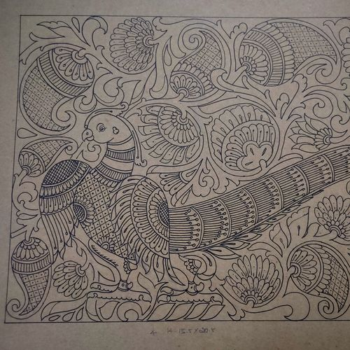 ancient parrot with traditional designs, 21 x 16 inch, sadhana j,21x16inch,thick paper,drawings,art deco drawings,fine art drawings,paintings for living room,paintings for office,paintings for hotel,pen color,GAL02232634267