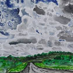 cloudy and rainy, 11 x 8 inch, surabhi g,11x8inch,brustro watercolor paper,paintings,landscape paintings,nature paintings | scenery paintings,paintings for dining room,paintings for hotel,paintings for school,paintings for hospital,watercolor,GAL02240634270