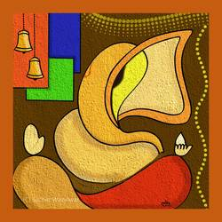 ganesha1, 32 x 32 inch, sachin wazalwar,32x32inch,canvas,paintings,ganesha paintings | lord ganesh paintings,paintings for dining room,paintings for living room,paintings for office,mixed media,GAL02241434277