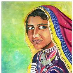 simplicity and innocence of indian village woman, 20 x 28 inch, rachita bhaumik ,20x28inch,canvas,paintings,portrait paintings,acrylic color,GAL02099634281
