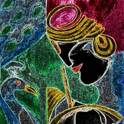 radha krishna with peacock, 24 x 35 inch, sachin wazalwar,24x35inch,canvas,paintings,radha krishna paintings,paintings for living room,paintings for office,paintings for hotel,mixed media,GAL02241434282
