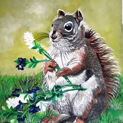 squirrel - innocent animal, 13 x 15 inch, rachita bhaumik ,13x15inch,canvas,animal paintings,children paintings,kids paintings,acrylic color,GAL02099634287