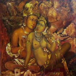ajanta alora, 28 x 28 inch, varun bokolia,figurative paintings,paintings for bedroom,canvas,oil,28x28inch,GAL012443429