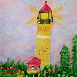 lighthouse by the flowers, 8 x 11 inch, reema pereira,8x11inch,canvas,paintings,landscape paintings,nature paintings | scenery paintings,paintings for dining room,paintings for living room,paintings for bedroom,acrylic color,oil color,GAL02172034293