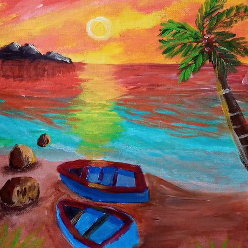 sunset on the beach, 8 x 11 inch, reema pereira,8x11inch,canvas,paintings,landscape paintings,nature paintings | scenery paintings,paintings for dining room,paintings for living room,paintings for bedroom,acrylic color,GAL02172034294