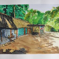 a hut by the country side., 16 x 11 inch, surabhi g,16x11inch,brustro watercolor paper,paintings,wildlife paintings,folk art paintings,landscape paintings,still life paintings,nature paintings | scenery paintings,street art,paintings for dining room,paintings for living room,paintings for bedroom,paintings for office,paintings for hotel,paintings for kitchen,paintings for school,paintings for hospital,watercolor,paper,GAL02240634302