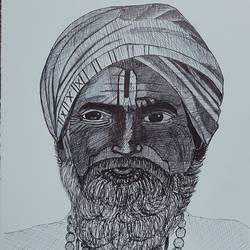 old sadhu drawing, 12 x 8 inch, vaishnavi ninawe,12x8inch,thick paper,paintings for dining room,paintings for living room,paintings for hotel,paintings for school,fine art drawings,portrait drawings,paintings for dining room,paintings for living room,paintings for hotel,paintings for school,ball point pen,GAL02076834304