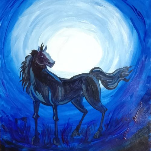 the black horse, 12 x 16 inch, shiva kumar,12x16inch,handmade paper,paintings,figurative paintings,paintings for dining room,paintings for living room,paintings for bedroom,paintings for office,paintings for bathroom,paintings for kids room,paintings for hotel,paintings for kitchen,paintings for school,paintings for hospital,acrylic color,GAL02169534305