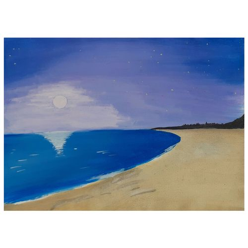 the beach, 8 x 11 inch, pardha saradhi g,8x11inch,drawing paper,paintings,landscape paintings,still life paintings,nature paintings | scenery paintings,paintings for bedroom,mixed media,poster color,watercolor,paper,GAL02044234307