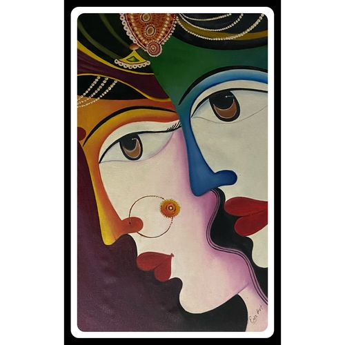 couple painting, 18 x 28 inch, rennie eva  lall,18x28inch,canvas,paintings,modern art paintings,art deco paintings,illustration paintings,love paintings,paintings for dining room,paintings for living room,paintings for bedroom,paintings for hotel,paintings for kitchen,oil color,GAL02165934314