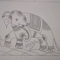 elephant desing in traditional way, 21 x 16 inch, harikrishnan g,21x16inch,thick paper,drawings,art deco drawings,fine art drawings,illustration drawings,paintings for hotel,paintings for hospital,pen color,GAL02232634315