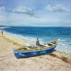 fishing boat, 12 x 8 inch, vinaya pravin,12x8inch,paper,paintings,landscape paintings,paintings for living room,paintings for office,paintings for hotel,watercolor,GAL02227134319