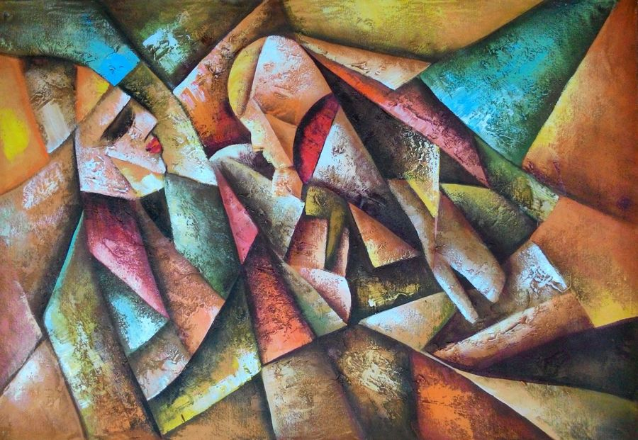 abstract mother child, 36 x 24 inch, varun bokolia,abstract paintings,paintings for living room,paintings for bedroom,canvas,acrylic color,36x24inch,GAL012443432