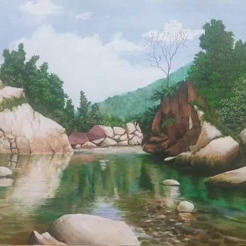 rocks and stream, 24 x 20 inch, shankha mitra,24x20inch,canvas,paintings,landscape paintings,acrylic color,GAL02246934324