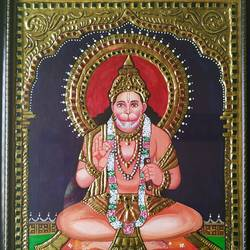 lord hanuman tanjore painting, 18 x 24 inch, suma ramesh,18x24inch,wood board,paintings,tanjore paintings,acrylic color,wood,GAL02246434327