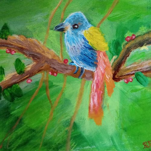 bird perched on a tree branch, 12 x 10 inch, reema pereira,12x10inch,canvas,paintings,wildlife paintings,paintings for dining room,paintings for living room,paintings for bedroom,acrylic color,oil color,GAL02172034328