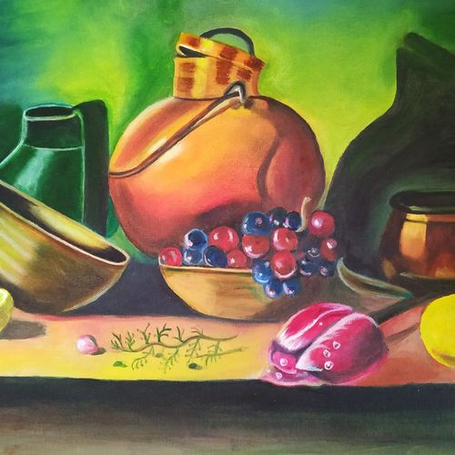 still life oil painting , 16 x 20 inch, suma ramesh,16x20inch,canvas,paintings,still life paintings,paintings for dining room,oil color,GAL02246434330