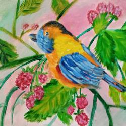 eastern bluebird on a raspberry tree, 12 x 10 inch, reema pereira,12x10inch,canvas,paintings,wildlife paintings,paintings for dining room,paintings for living room,paintings for bedroom,acrylic color,oil color,GAL02172034334