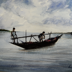 after a hard day, 15 x 11 inch, vinaya pravin,15x11inch,paper,paintings,landscape paintings,paintings for living room,paintings for office,paintings for hotel,watercolor,GAL02227134336