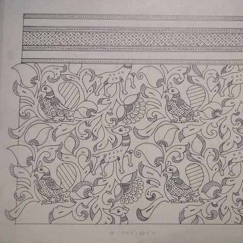 deer and peacock design with traditional art work, 21 x 16 inch, harikrishnan g,21x16inch,thick paper,drawings,art deco drawings,fine art drawings,illustration drawings,paintings for office,paintings for hotel,paintings for school,pen color,GAL02232634337