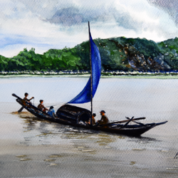 'sailing by the river', 15 x 11 inch, vinaya pravin,15x11inch,paper,paintings,landscape paintings,paintings for living room,paintings for office,paintings for hotel,watercolor,GAL02227134341