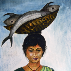 'big catch' , 11 x 15 inch, vinaya pravin,11x15inch,paper,paintings,portrait paintings,paintings for living room,paintings for office,paintings for hotel,watercolor,GAL02227134342