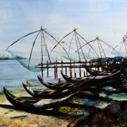 'chinese dip nets', 15 x 11 inch, vinaya pravin,15x11inch,paper,paintings,landscape paintings,paintings for living room,paintings for office,paintings for hotel,watercolor,GAL02227134351