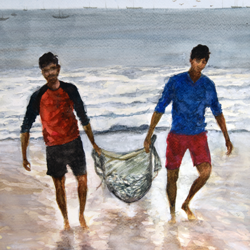 'days catch', 11 x 15 inch, vinaya pravin,11x15inch,paper,paintings,landscape paintings,paintings for living room,paintings for office,paintings for hotel,watercolor,GAL02227134352