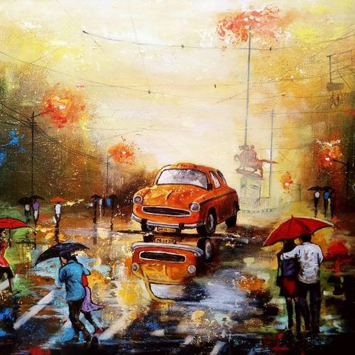 rainy day in kolkata 12, 30 x 24 inch, arjun das,30x24inch,canvas,paintings,cityscape paintings,paintings for living room,paintings for bedroom,paintings for office,paintings for hotel,paintings for hospital,acrylic color,GAL011234359