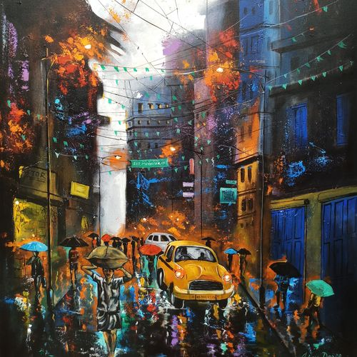 rainy day in kolkata, 30 x 42 inch, arjun das,30x42inch,canvas,paintings,cityscape paintings,street art,contemporary paintings,paintings for dining room,paintings for living room,paintings for bedroom,paintings for office,paintings for hotel,paintings for hospital,acrylic color,GAL011234360
