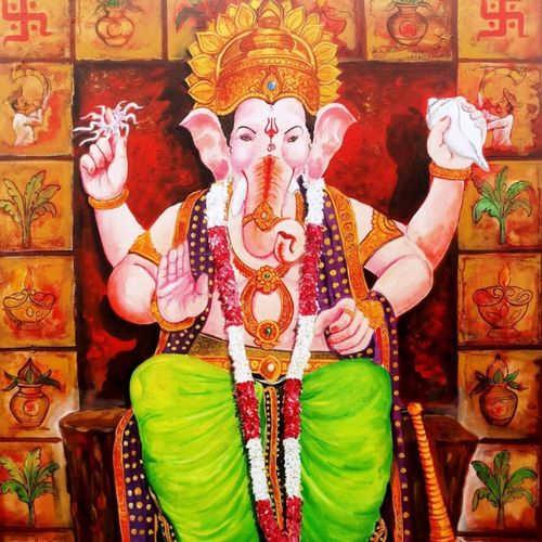 laalbagcha raja ganesha, 36 x 48 inch, arjun das,36x48inch,canvas,paintings,ganesha paintings | lord ganesh paintings,paintings for dining room,paintings for office,paintings for hotel,paintings for hospital,acrylic color,GAL011234362