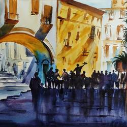 cityscape, 16 x 11 inch, shankhadeep  mondal,16x11inch,brustro watercolor paper,paintings,cityscape paintings,landscape paintings,paintings for dining room,paintings for living room,paintings for bedroom,paintings for office,paintings for kids room,paintings for hotel,paintings for kitchen,watercolor,GAL01403034368