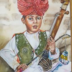 folk singer , 15 x 22 inch, surabhi  singh ,15x22inch,handmade paper,folk art paintings,portrait paintings,expressionism paintings,realism paintings,realistic paintings,children paintings,paintings for dining room,paintings for living room,paintings for bedroom,paintings for office,paintings for hotel,paintings for school,paintings for hospital,paintings for dining room,paintings for living room,paintings for bedroom,paintings for office,paintings for hotel,paintings for school,paintings for hospital,watercolor,GAL01950534370