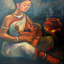 mother, 16 x 20 inch, soumen das,16x20inch,canvas,paintings,abstract paintings,acrylic color,GAL02253134376