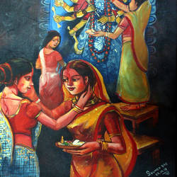 festival, 20 x 24 inch, soumen das,20x24inch,canvas,paintings,abstract paintings,religious paintings,acrylic color,GAL02253134377