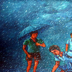 rainy day, 16 x 20 inch, soumen das,16x20inch,canvas,paintings,abstract paintings,acrylic color,GAL02253134381