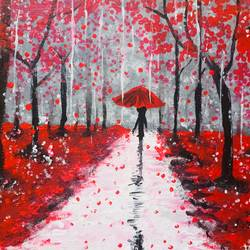 red fallen abstract painting, 12 x 10 inch, infancy carmelica,12x10inch,canvas,paintings,abstract paintings,landscape paintings,paintings for dining room,paintings for living room,paintings for bedroom,paintings for hotel,acrylic color,GAL02253234383
