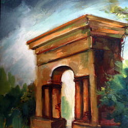 old temple, 12 x 16 inch, soumen das,12x16inch,canvas,paintings,abstract paintings,acrylic color,GAL02253134384