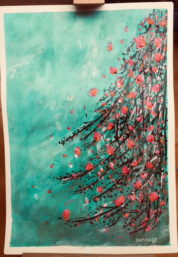 teal and hot pink, 8 x 12 inch, infancy carmelica,8x12inch,fabriano sheet,paintings,abstract paintings,flower paintings,paintings for dining room,paintings for living room,paintings for bedroom,paintings for office,paintings for hotel,paintings for kitchen,paintings for school,paintings for hospital,acrylic color,GAL02253234387