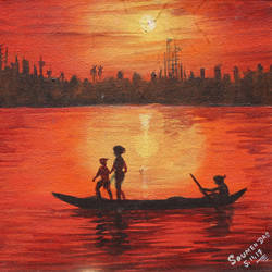 sunset, 12 x 12 inch, soumen das,12x12inch,canvas,paintings,abstract paintings,acrylic color,GAL02253134400