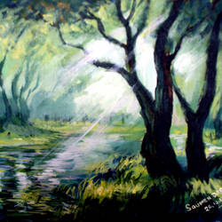 forest, 12 x 16 inch, soumen das,12x16inch,canvas,paintings,abstract paintings,acrylic color,GAL02253134403