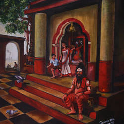 temple, 20 x 24 inch, soumen das,20x24inch,canvas,abstract paintings,religious paintings,acrylic color,GAL02253134408