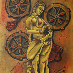 apsara, 12 x 16 inch, soumen das,12x16inch,canvas,paintings,abstract paintings,acrylic color,GAL02253134409