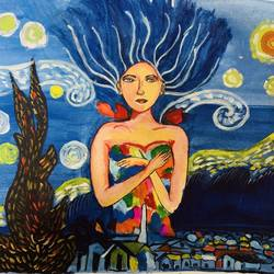the starry night fairy , 17 x 16 inch, amelia ghosh,17x16inch,canvas,paintings,figurative paintings,modern art paintings,abstract expressionism paintings,realism paintings,paintings for living room,paintings for office,paintings for hotel,acrylic color,GAL02178034411