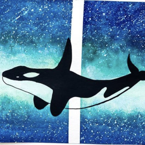 oh my whale, 9 x 12 inch, shrushti s,9x12inch,brustro watercolor paper,paintings,nature paintings | scenery paintings,paintings for dining room,paintings for living room,paintings for bedroom,paintings for office,paintings for bathroom,paintings for kids room,paintings for hotel,paintings for kitchen,paintings for school,paintings for hospital,pen color,watercolor,ball point pen,paper,GAL02021634422