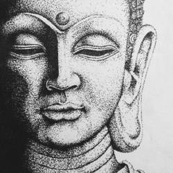 buddha, 9 x 12 inch, shrushti s,9x12inch,thick paper,drawings,expressionism drawings,paintings for dining room,paintings for living room,paintings for bedroom,paintings for office,paintings for kids room,paintings for hotel,paintings for kitchen,paintings for school,paintings for hospital,pen color,pencil color,ball point pen,paper,GAL02021634424
