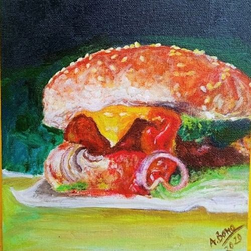 have a bite! , 8 x 10 inch, anjana bora,8x10inch,canvas,paintings,abstract paintings,modern art paintings,still life paintings,art deco paintings,photorealism paintings,photorealism,realism paintings,realistic paintings,paintings for dining room,paintings for living room,paintings for hotel,paintings for kitchen,paintings for dining room,paintings for living room,paintings for hotel,paintings for kitchen,acrylic color,GAL02226234428